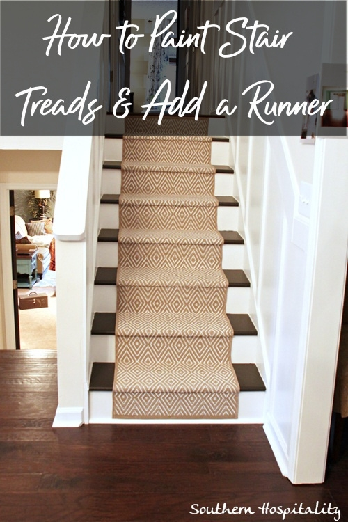 Painted Stairs And Adding Runners Southern Hospitality | Stair Treads And Runners | Non Slip | Mat | Treads Carpet | Bullnose Carpet Runners | Staircase