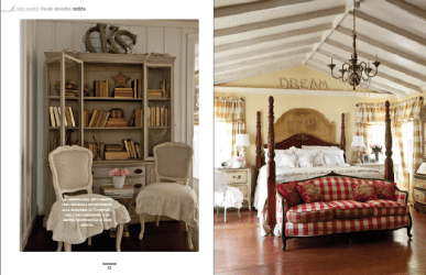 bedroom master french country cottage chic magazine cozy porch courtney maison fireplace bedrooms bed farmhouse italian beams inspire wood feature