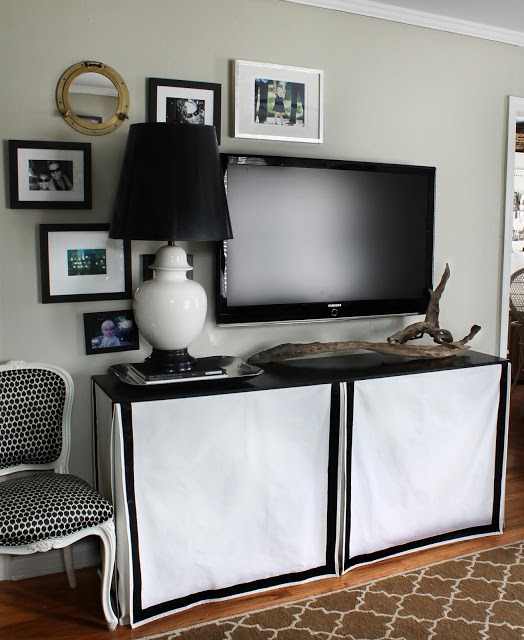Kristin Knows How To Take The Room Up A Notch With Special Details Like  This Skirted Table In Black And White. Hunted Interior