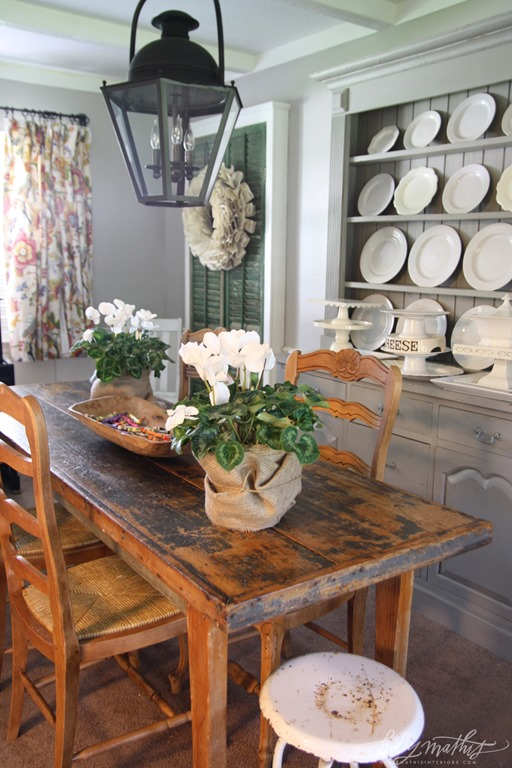The Dining Room Is Equally Warm And Inviting With The Rustic Table And  Chairs And Painted Sideboard/hutch. Holly Has A Thing For White Dishes Too!