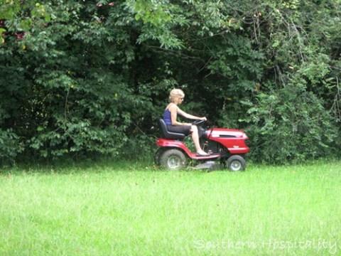 mowing backyard