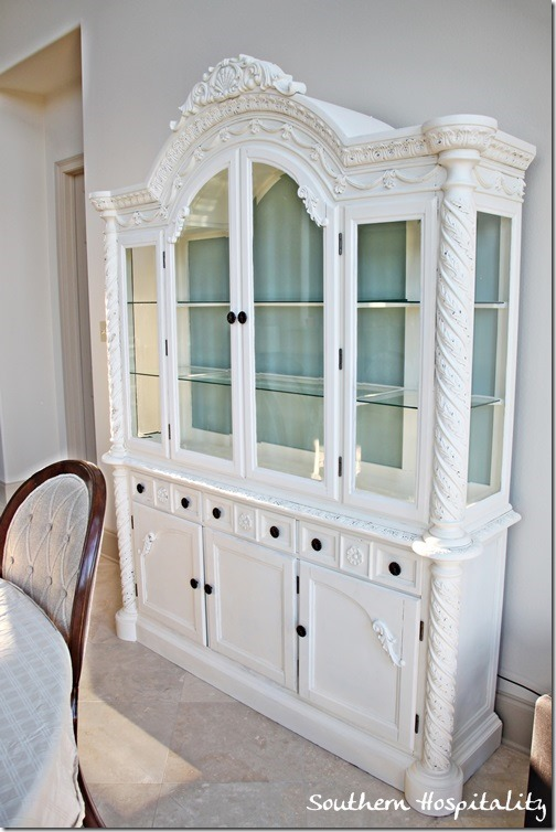 Annie Sloan old white china cabinet