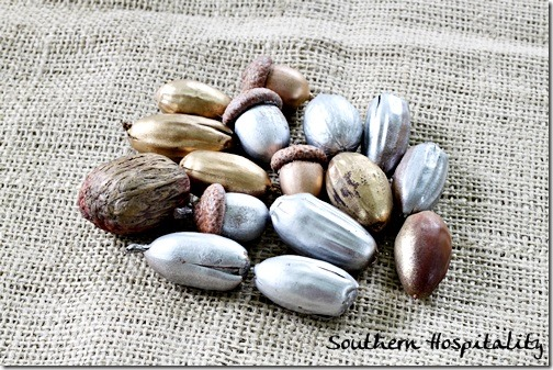 metallic spray painted acorns and nuts