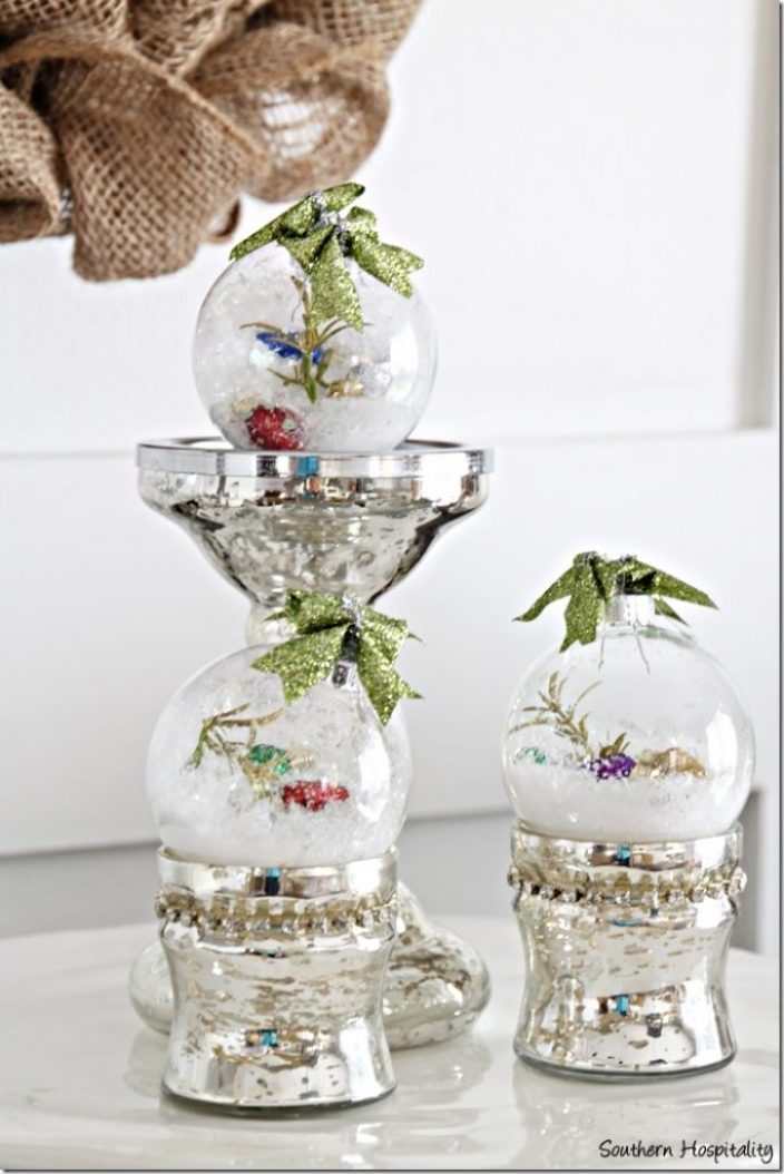diy glass ornaments on sideboard