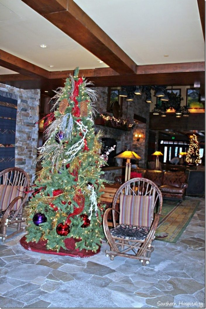 Christmas trees in  lobby