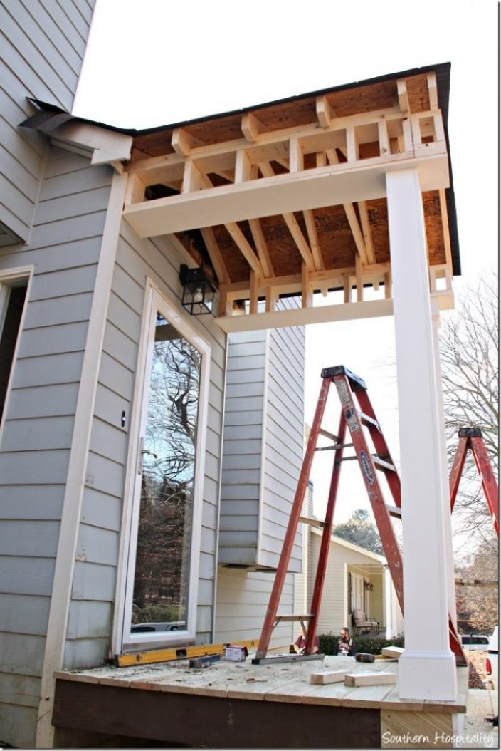 side view front porch portico build