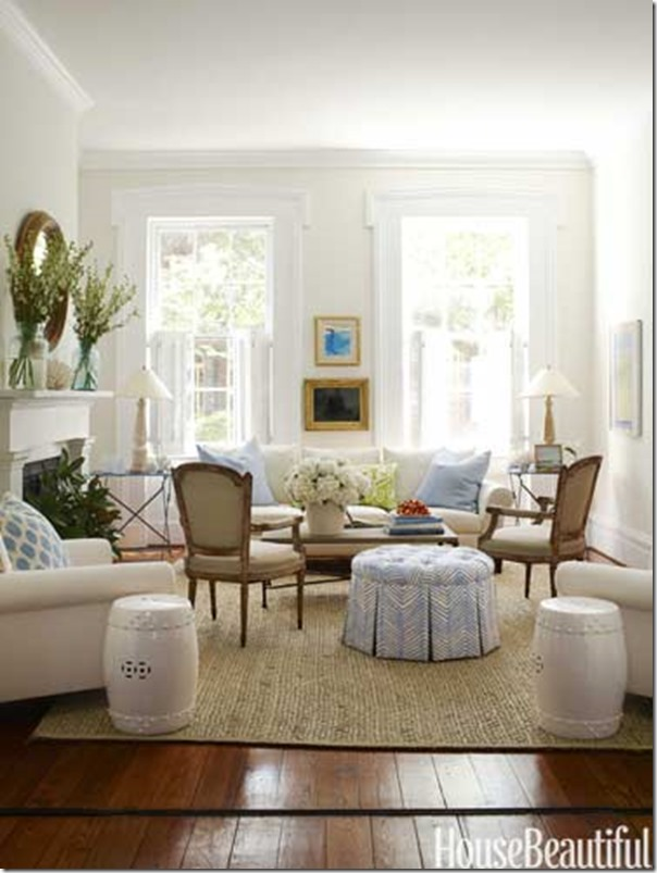 Defining your decorating style southern hospitality - White walls living room ...