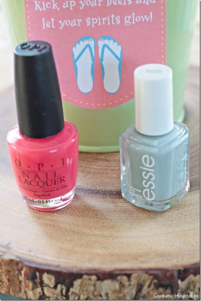 coral and blue nail polish