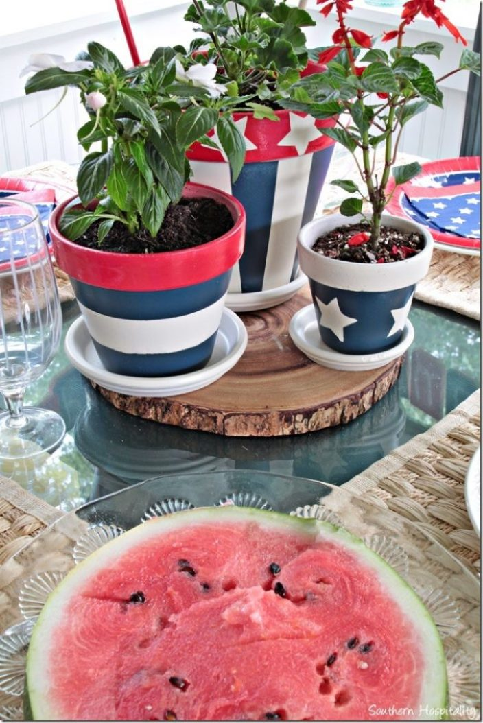 painted pots red white and blue