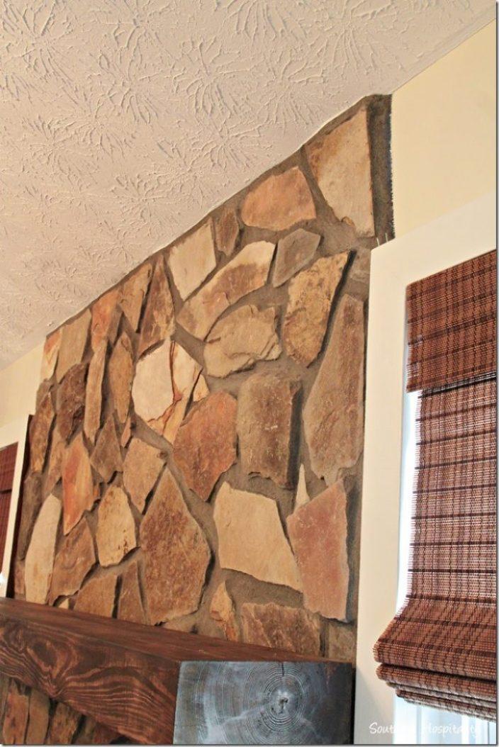 rock on fireplace