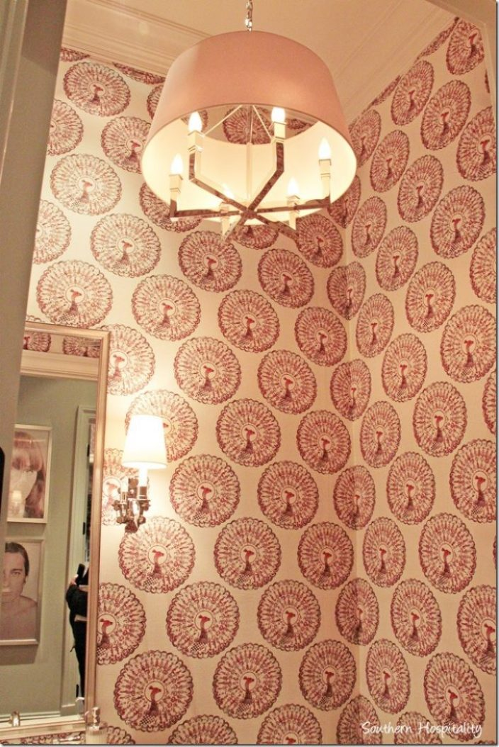 powder room fabric walls