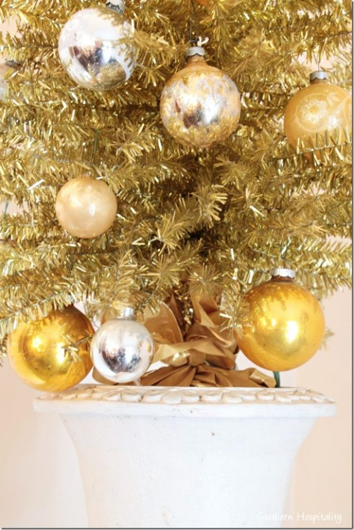 gold tree vintage ornaments