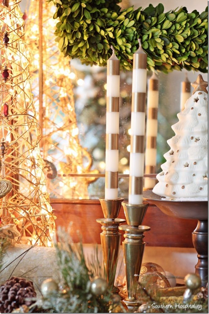 Painting Gold Stripes On Candles Southern Hospitality