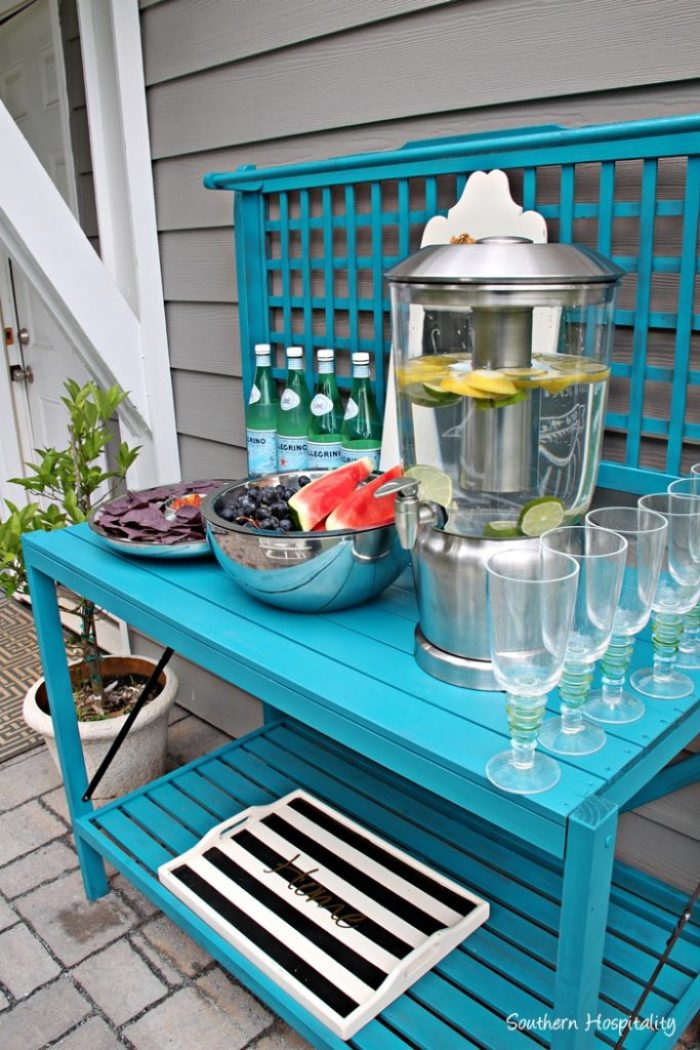 outdoor entertaining frontgate and potting bench