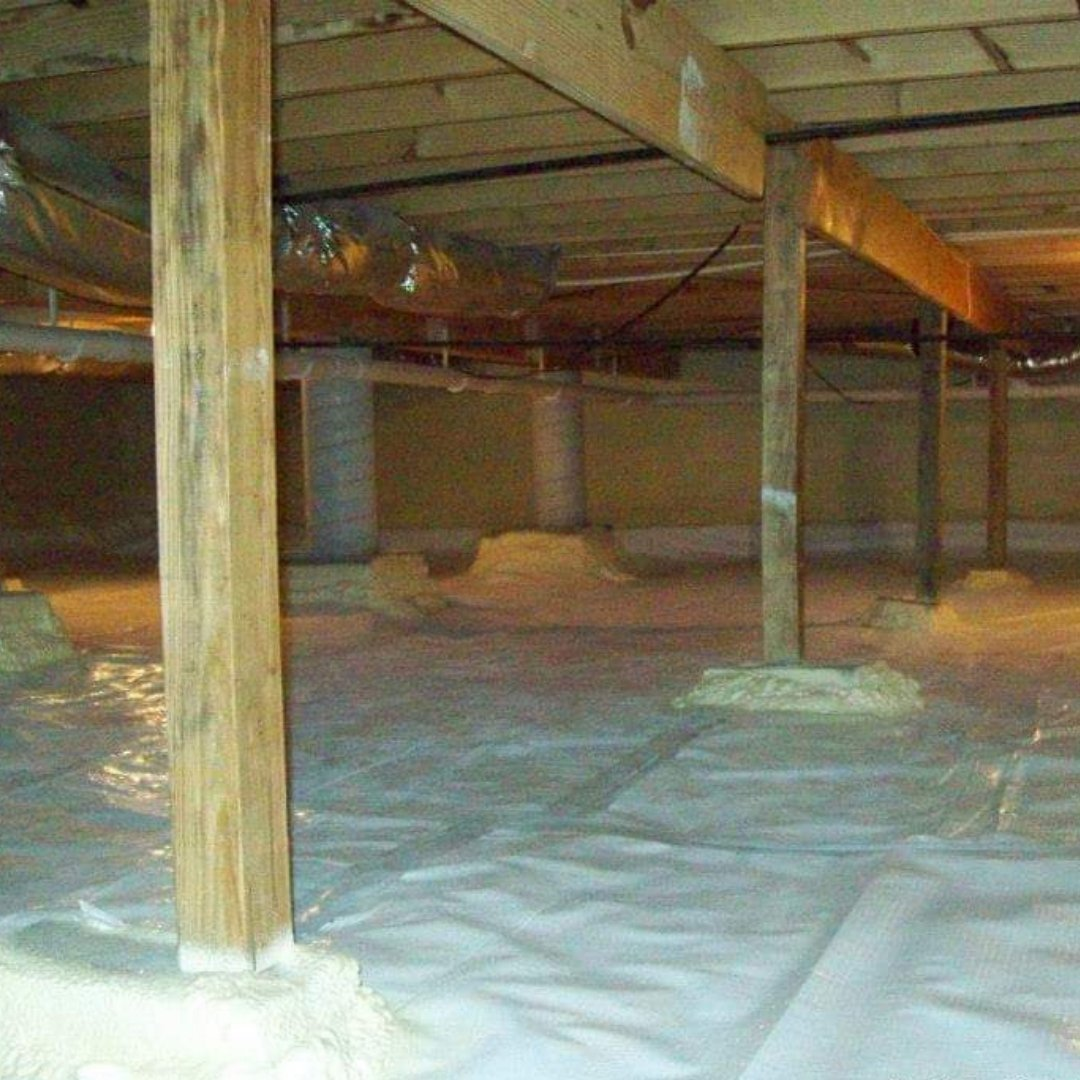 Crawlspace Encapsulation Page Gallery - Support Beams and Plastic Barrier