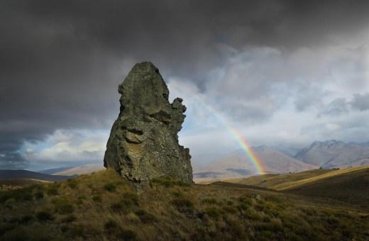 Tor and rainbow, Central Otago