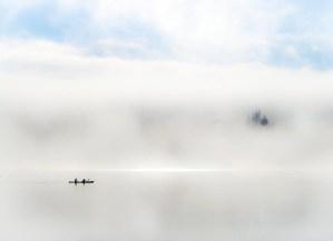 Lake Wanaka - kayakers in winter mist