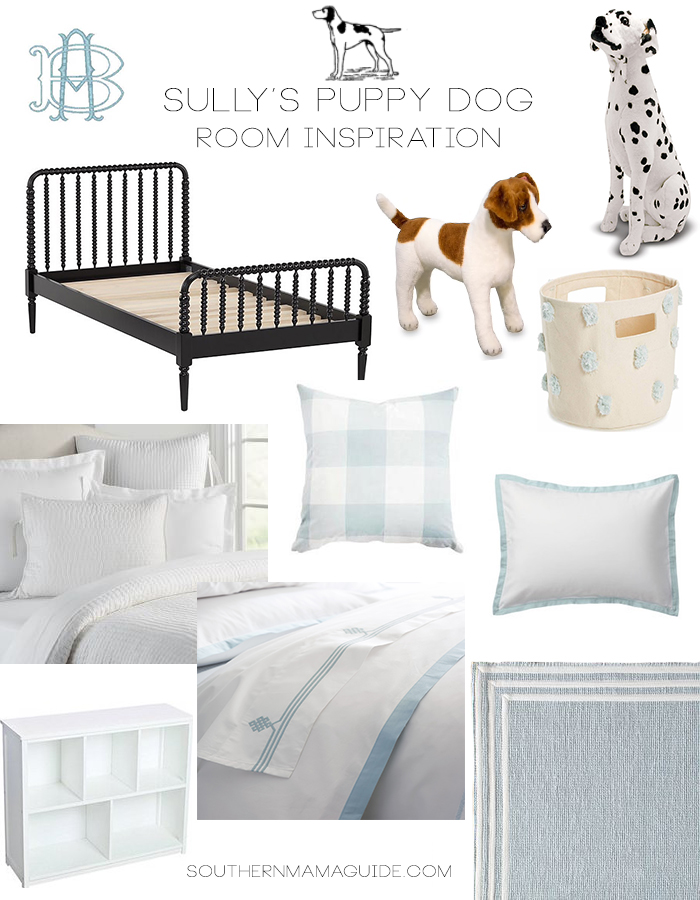 Sully's Little Boy Puppy Dog Room Inspiration Board by SouthernMamaGuide.com | Buffalo Check | Jenny Lind Bed | Studio McGee | Pottery Barn | Serena & Lily | Monogram | Puppy Dog | Pehr Designs