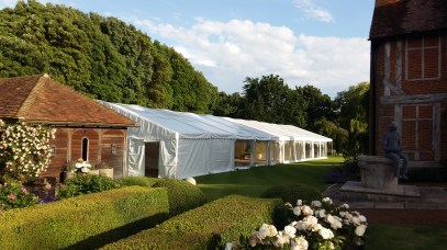 This large party marquee was open at the end to provide an outside chill-out area.