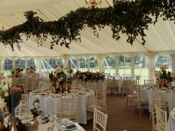 Hops were suspended from the roof of this wedding marquee in Portchester.