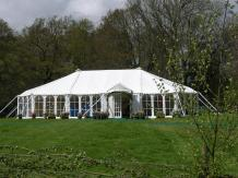 This marquee is a good example of our traditional style marquee and shows the pretty shape of the roof.