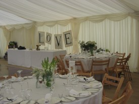 An internal view of our traditional style marquee.
