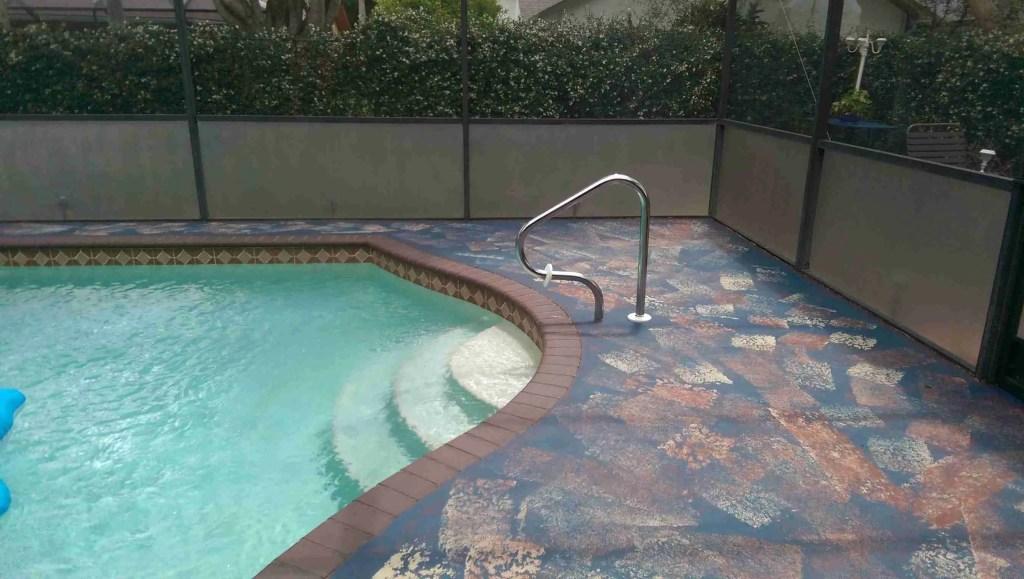 paint concrete pool deck faux rag rugs