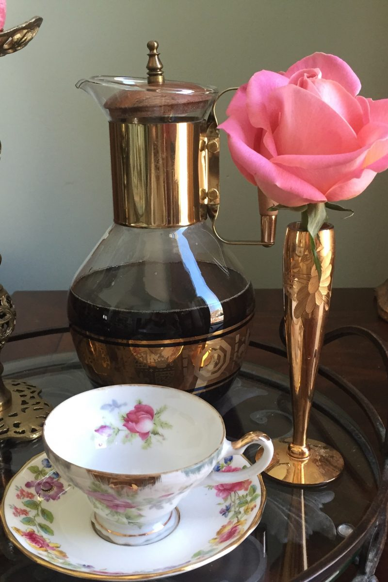 Vintage Coffee Container and brass vase with coral rose