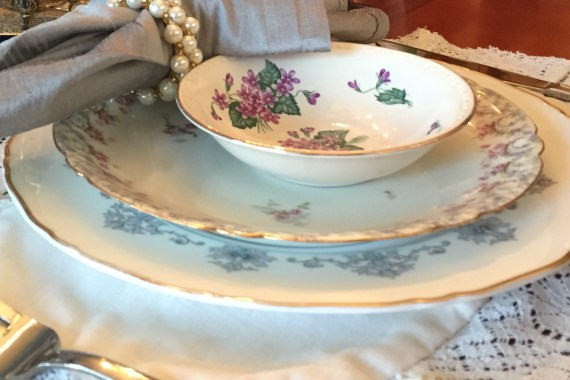 White china with purple flowers