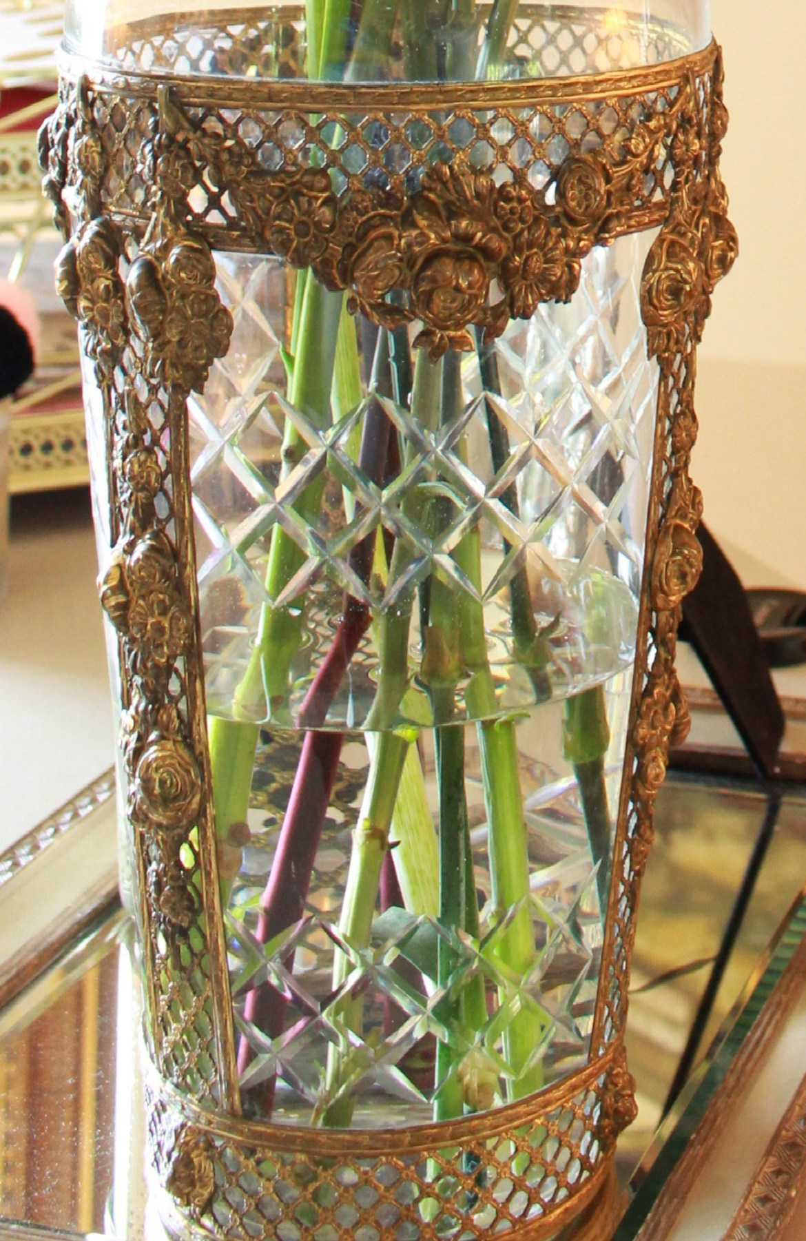 Glass and Brass Antique Vase