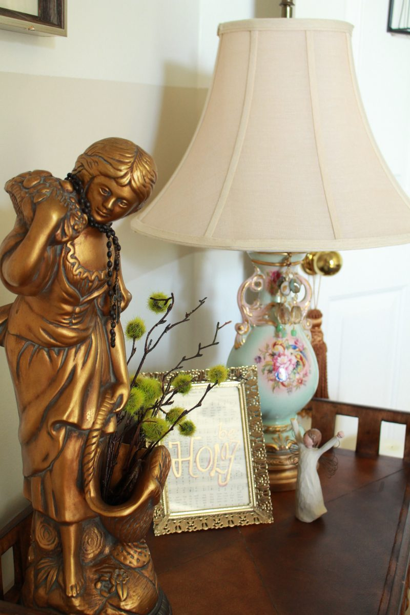 French Lady Statue and vintage china lamp