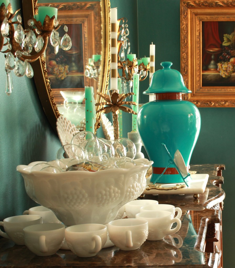 Milk Glass Punch Bowl and Turquoise Ginger Jar