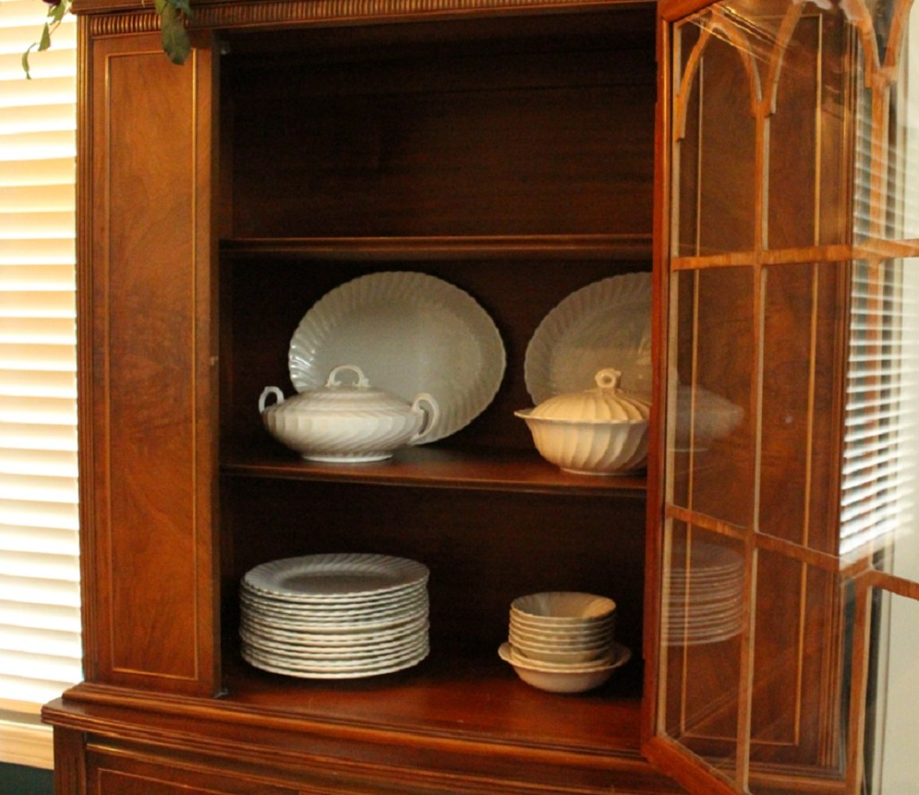 Ironstone Displayed in China Cabinet