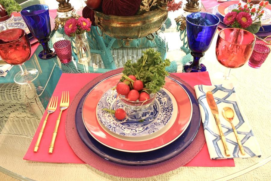 Vintage dessert bowl full of radishes
