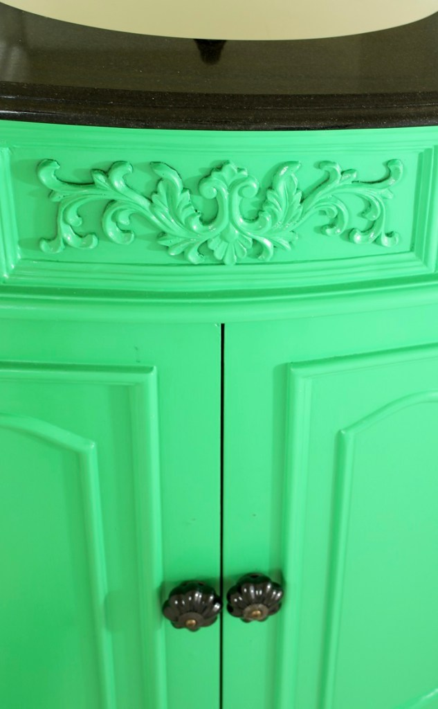 Green Lacquered Bathroom Vanity with Black Marble Top and Knobs