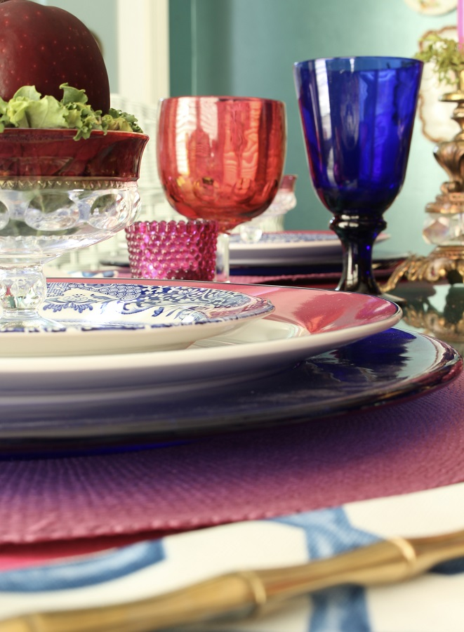 Blue and White China on Fall Tablescape