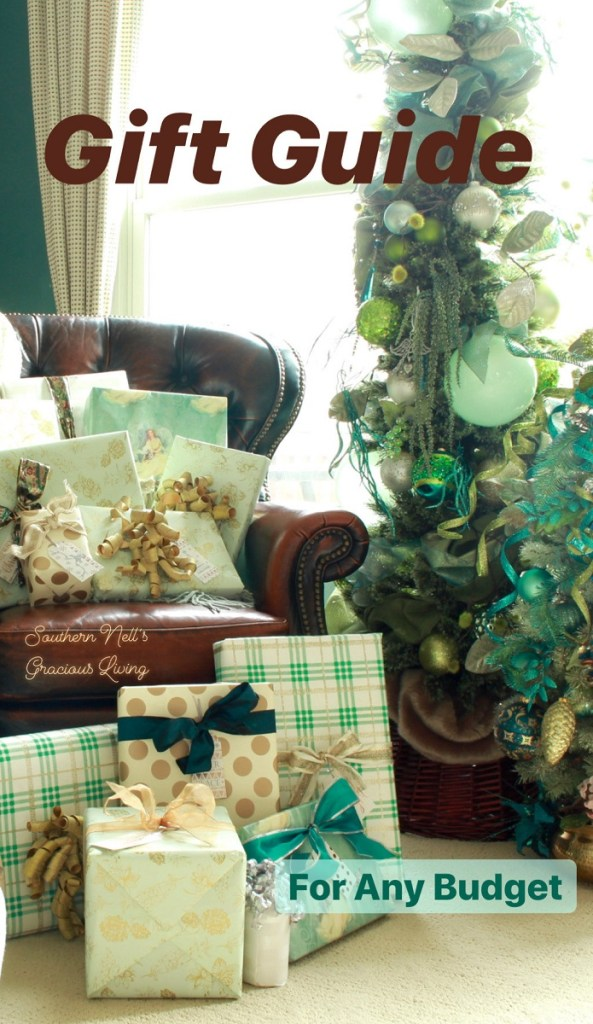 Leather Chair with Wrapped Christmas Packages