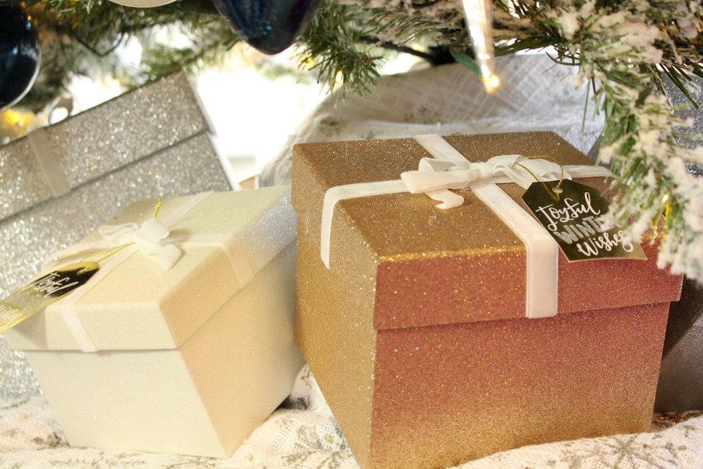 Gold Silver and White Glitter Christmas Boxes as Decor