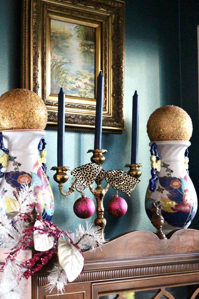 Tobacco Leaf Jars and Brass Candlestick