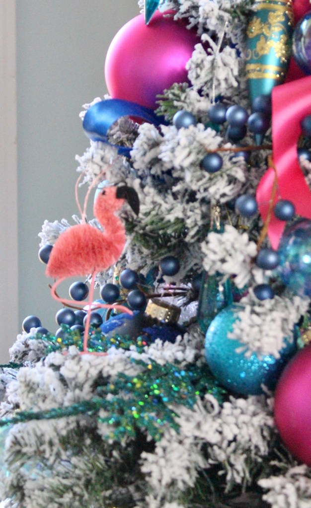 Chinoiserie Christmas Tree wtith flamingo ornaments