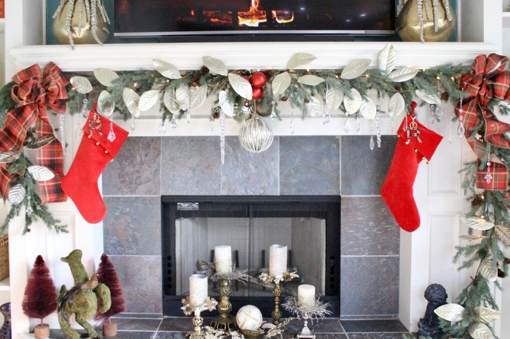 Christmas Mantel with Red Stockings and Bows