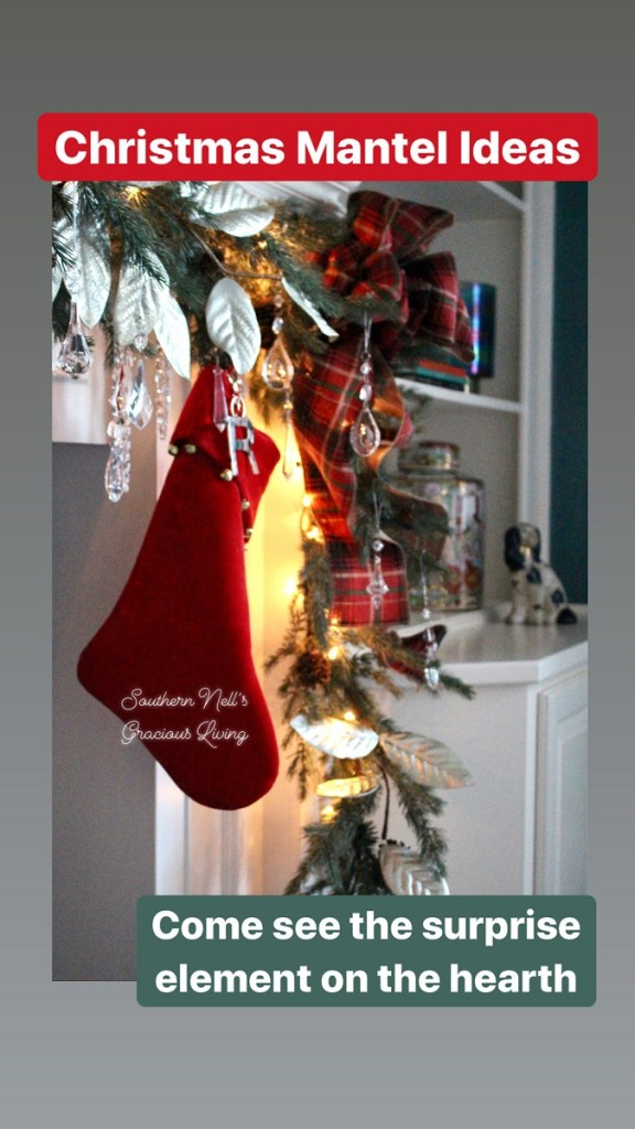 Red Christmas Stocking hung on Garland