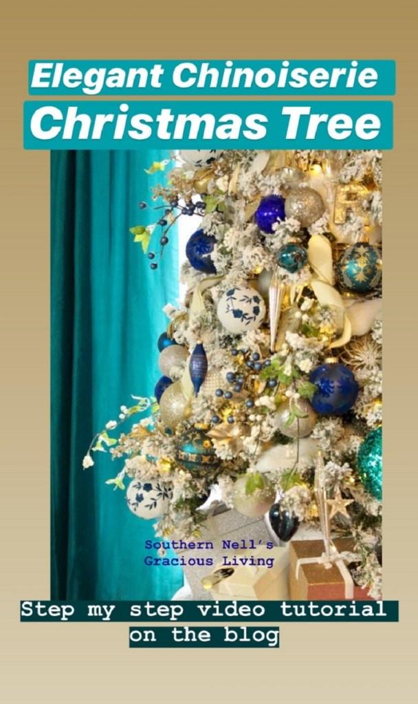 Elegant Chinoiserie Blue and White Flocked Christmas Tree