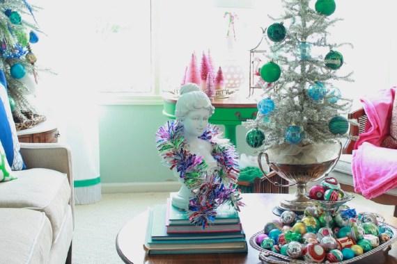 Vintage Foil Christmas Tree and Vintage Ornaments