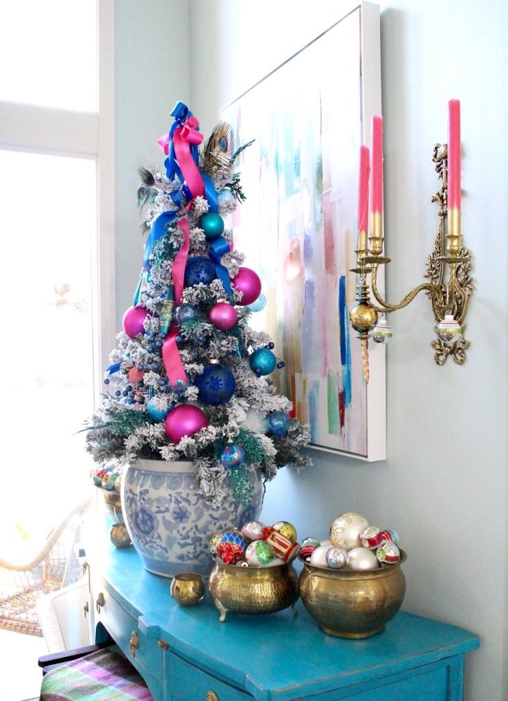 Chinoiserie Christmas Tree wtih Vintage Brass