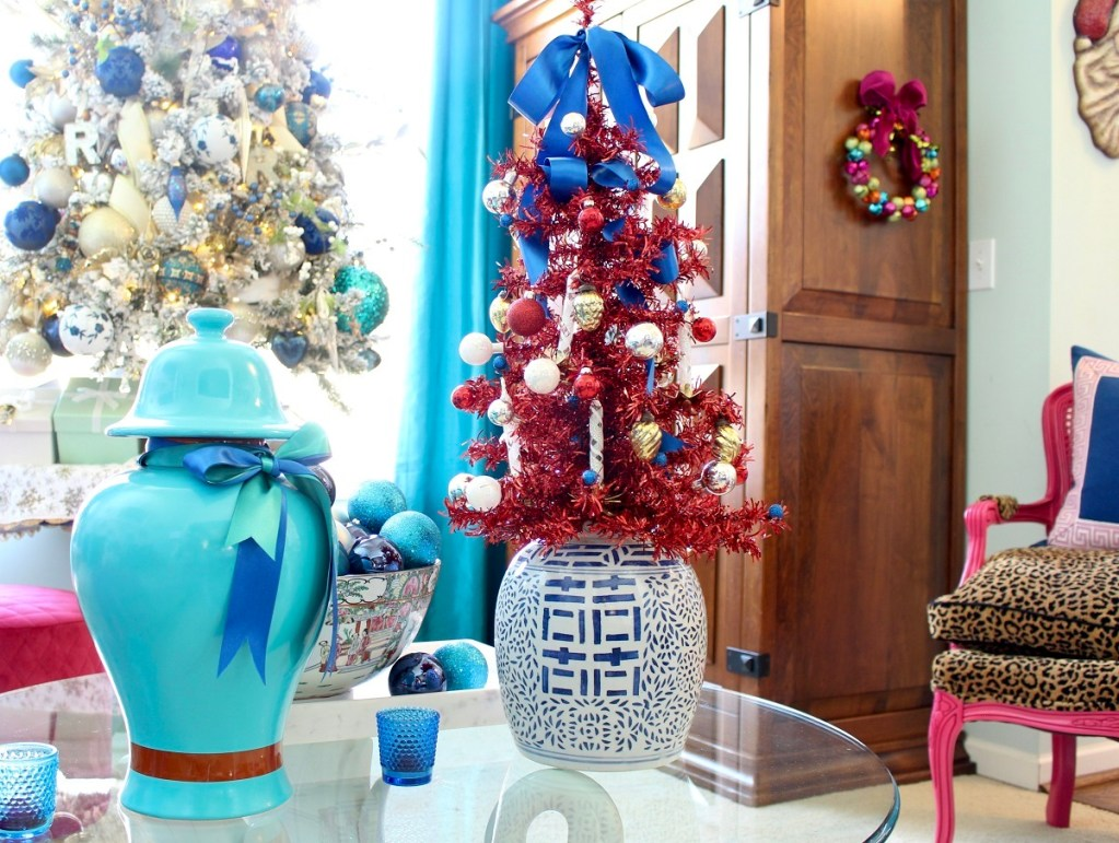 Turquoise Ginger Jar and Red Tinsel Christmas Tree in Blue and White jar