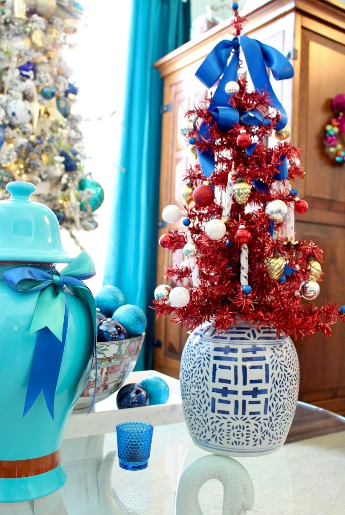 Chinese Happiness Jar with Red Tinsel Christmas Tree and Turquoise Ginger Jar