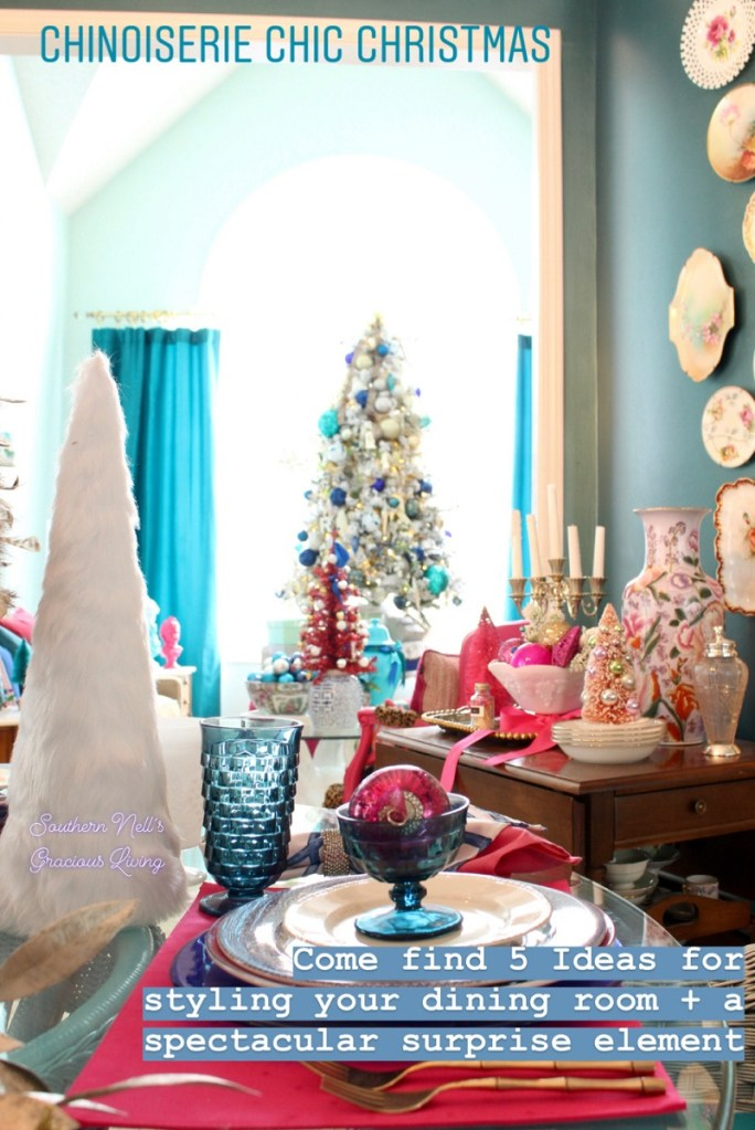 Christmas Table Setting with White Fur Tree and Vintage Blue Fostoria