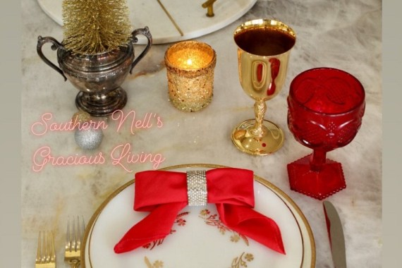 Red Napkin folded as a bow