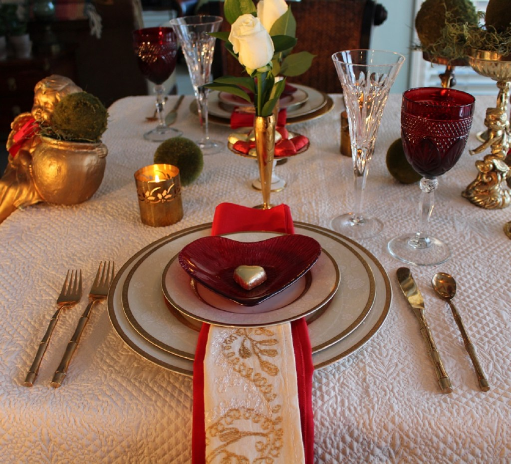 Red and Gold Valentine's Day Table Setting